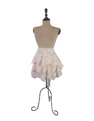 Victorian Trading Co Pink Roses Floral Ruffled Half Apron