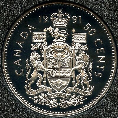 1991 Canada Frosted Proof Uncirculated 50 Cent Coin