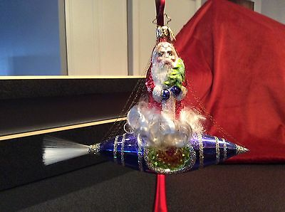 Christopher Radko Santa In Space Ornament Rocket