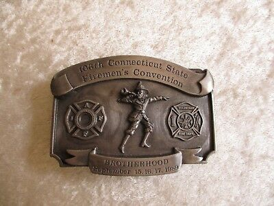 1989 Brotherhood 106th Ct. Firemen's Convention Leather King Belt Buckle