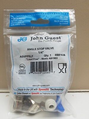 "John Guest ASVPP5LF Angle Stop Adapter Valve 1/2"" x 3/8"" x 1/4""  New & Sealed!!"
