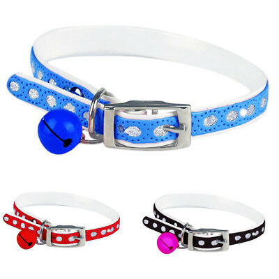 Gn- Fm- Adjustable Dog Pet Cat Faux Leather Waterproof Neck Collar With Bell Sal
