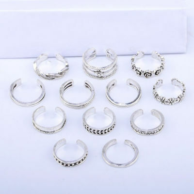 GN- EG_ 12PC Jewelry Retro Silver Adjustable Open Toe Ring Set Finger Foot Gift