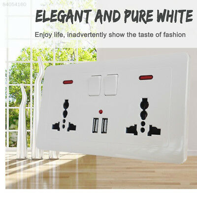 E9EA Double Wall UK Plug Socket 2 Gang 13A with 2 USB Charger Port Outlet Plate