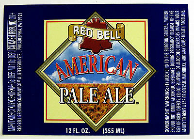 Red Bell Brewing AMERICAN PALE ALE  beer label PA 12oz
