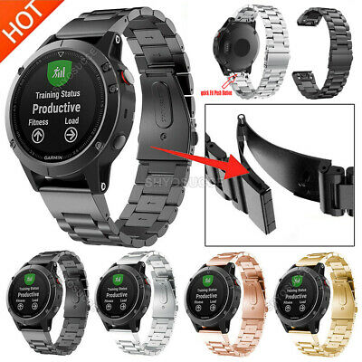 For Garmin Fenix 5 5X 5S 3 HR S60 Watch Band Strap Stainless Steel Link Bracelet