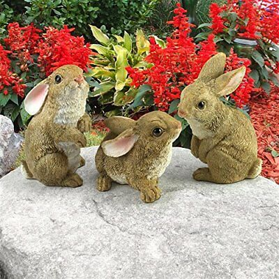 Design Toscano The Bunny Den Rabbits Garden Animal Statues, 5 Inch, Set of Three
