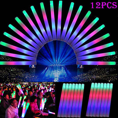 12Pcs Light Up Foam Sticks LED Wands Rally Rave Batons DJ Flashing Glow Stick