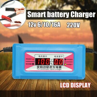 12V DC 6/10/16A Smart Battery Charger Maintainer Charging w/ LCD Digital Display