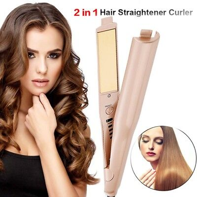 Hair Straightener & Hair Curler (gold) 2 in 1 Curling Iron Styling Tool Salon