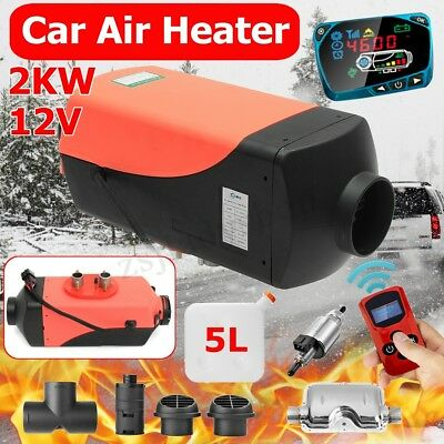 2KW 12V Diesel Air Heater Upgrade LCD Thermostat For Truck Boat Car Bus Trailer