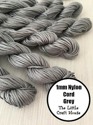 24 Metres 1mm Grey Nylon Coloured Cord String Thread Macrame Knot Braided Craft