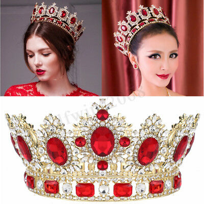 6.7'' Grand Rubis Strass Rouge Cristal Or King Couronne Mariage Mariée Diadèmes