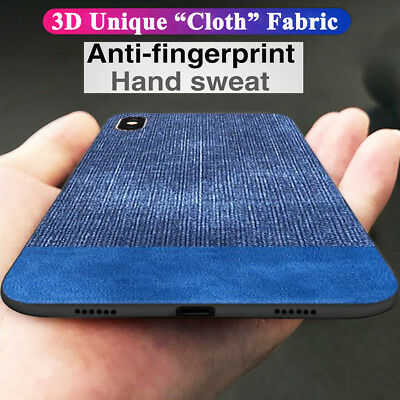 3D For iPhone XS Max Hybrid PU Leather Case Cloth Fabric Shockproof Armor Cover