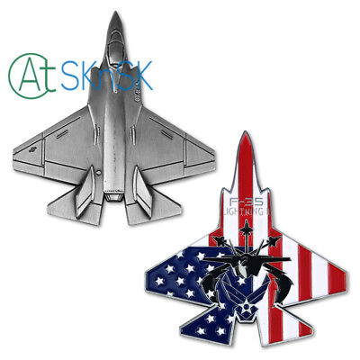 USAF F35 Challenge Coin Fighter Collectible Military Aircraft Shape Metal Badge