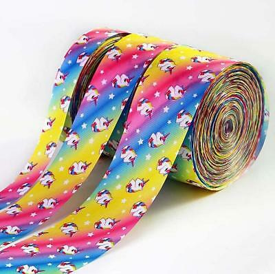 1yd Rainbow Unicorn Grosgrain Ribbon DIY jewelry bow Handmade Gift wrapping