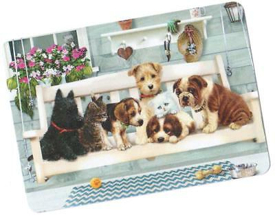 Swap / Playing Card ~ Cute Bench Puppy Dogs   ~ Modern Wide ~ Linen