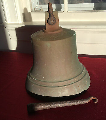 """Antique Large Cast Bronze / Brass Ships Bell Inscribed 20 Lbs 10 1/2"""" X 9 1/2"""""""