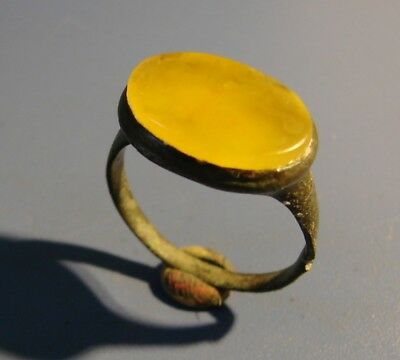 Ancient Bronze  Big Ring  Middle Ages. Rare. Natural Amber. Original.