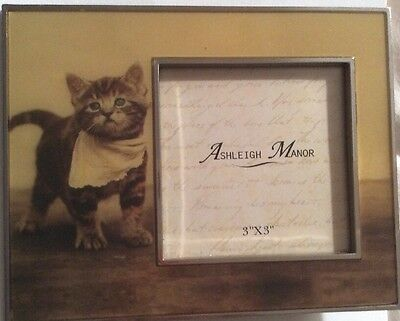 """ASHLEIGH MANOR PICTURE PHOTO FRAME - Tabby Cat 3"""" X 3"""""""