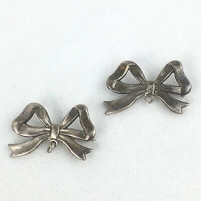 Two Sterling Silver Bow Shaped Brooches With Bottom Loop For Hanging