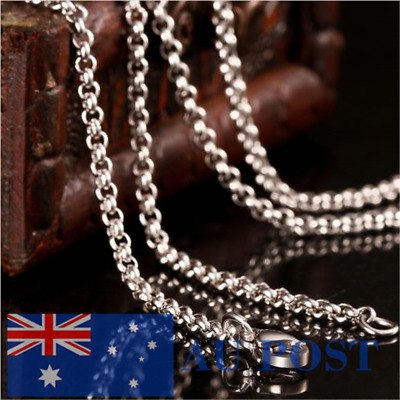 16-30 inches Mens Womens 2mm Stainless Steel Silver Smooth Chain Necklace New