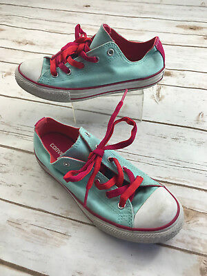 Converse Junior Girls 3 Blue Red Tongue Chuck Taylor All Star Sneakers Shoes OX