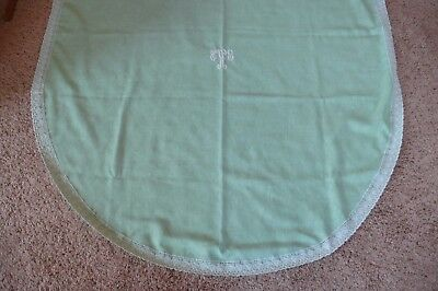 Vintage Pastel Green Oval Table Cloth (has stains)