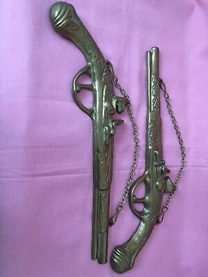 Vintage Pair Of Brass Flintlock Pistols With Wall Hanging Chains Collectible