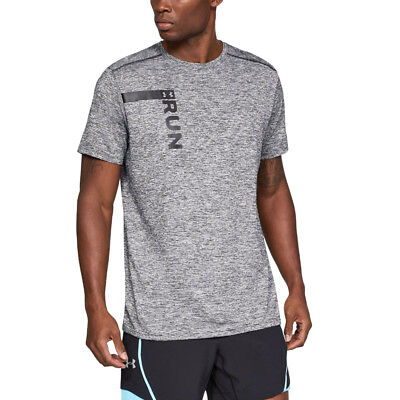 Under Armour Mens Run Tall Graphic Short Sleeved T Shirt Tee Top Grey Sports