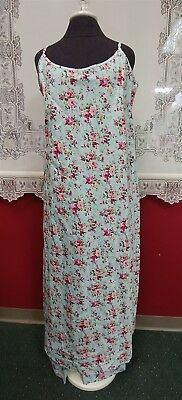 Victorian Trading Co Aqua & Pink Rose Cotton Nightgown Robe PJ Pants Set LG 26A