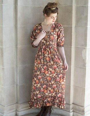 Victorian Trading Co April Cornell Greta Brown Fall Floral Dress SM 13E