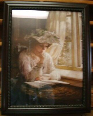 """Victorian Trading Co Lady Reading by a Window Framed Print 16"""" x 20"""" 30A"""