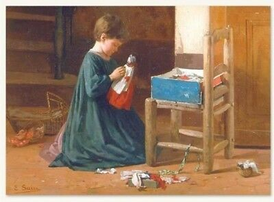 Victorian Trading Co NWOT Lucy's First Dress Girl & Doll Unframed Print