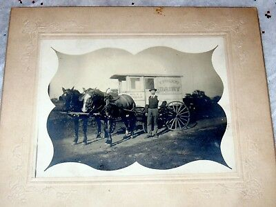 Vtg. Antique Horse Drawn Dairy Wagon Milk Delivery Cabinet Photo Early 1900s MN.