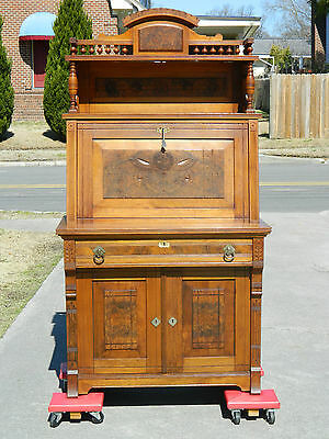 Michell & Rammelsburg Walnut Victorian Secretary Drop Front Witing Desk  SIGNED