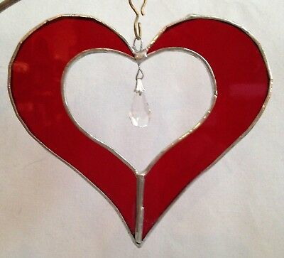 "5"" Stained Glass Red Heart with Crystal Prism Suncatcher - Made in the USA CCI"