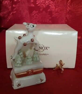 Lenox Treasure Box, Rudolph The Red Nosed Reindeer, Ivory Fine China,