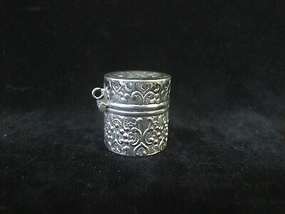 Antique STERLING Silver Ornate FLORAL Engraved Hinged Thimble Case