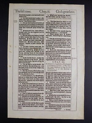 1611 King James Bible Leaf Page * Book Of First John 2:10-4:11*god's Great Love