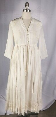 Victorian Trading Co April Cornell Patience Dress Ivory Flowing Empire Waist LG