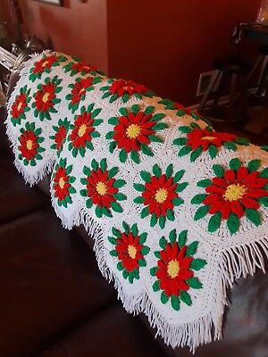 Hand Crochet Afghan Blanket White With Red And Green Poinsettia