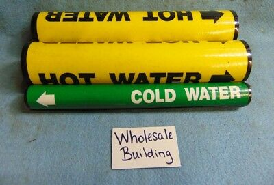 Seton Pipe Marker Vinyl Snap Arounds, -20 & Sp-3, Hot & Cold Water  *lot Of 3*