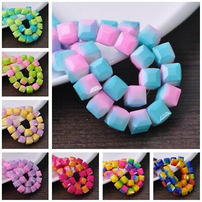 10pcs Cube Square Faceted Crystal Glass Loose Spacer Beads 8mm/10mm Jewelry DIY