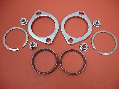 Flange Kit Exhaust Gasket Nut Cylinder Head Pipe Clamp Harley Evo Twin Cam