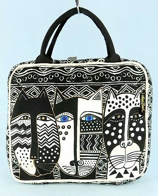 Laurel Burch Wild Cats Large Cosmetic Tote Bag Toiletry Travel Case 9x11x3 NWOT