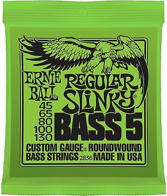 Ernie Ball 2836 Regular Slinky 5-String Bass Guitar Strings  nickel wound 45-130