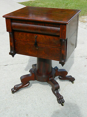 Mahogany Empire 3 Drawer Work Table with Desk circa 1840