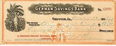 German Savings Bank, Chester, Iowa--1909 Check -Plantation lady w/fruit vignette