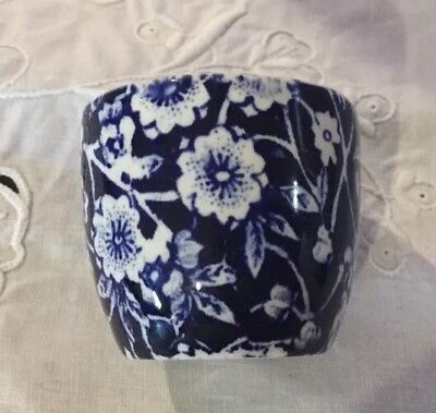 Burleigh Calico Egg Cup. Made in England. New. Blue & White.